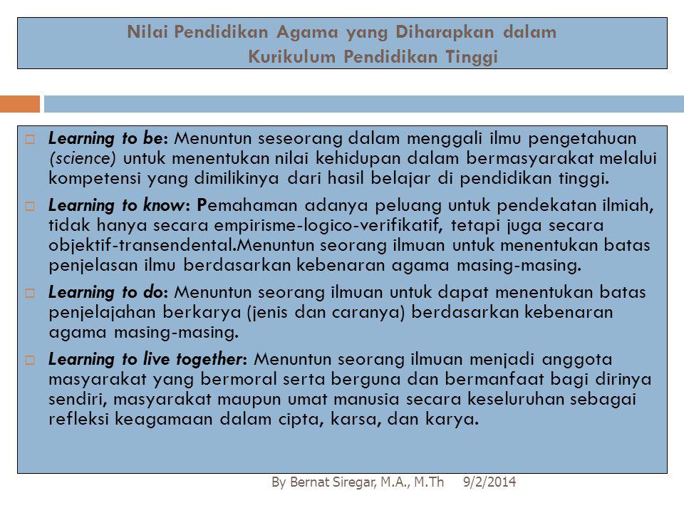 Nilai Pendidikan Agama yang Diharapkan dalam Kurikulum Pendidikan Tinggi 9/2/2014By Bernat Siregar, M.A., M.Th  Learning to be: Menuntun seseorang da