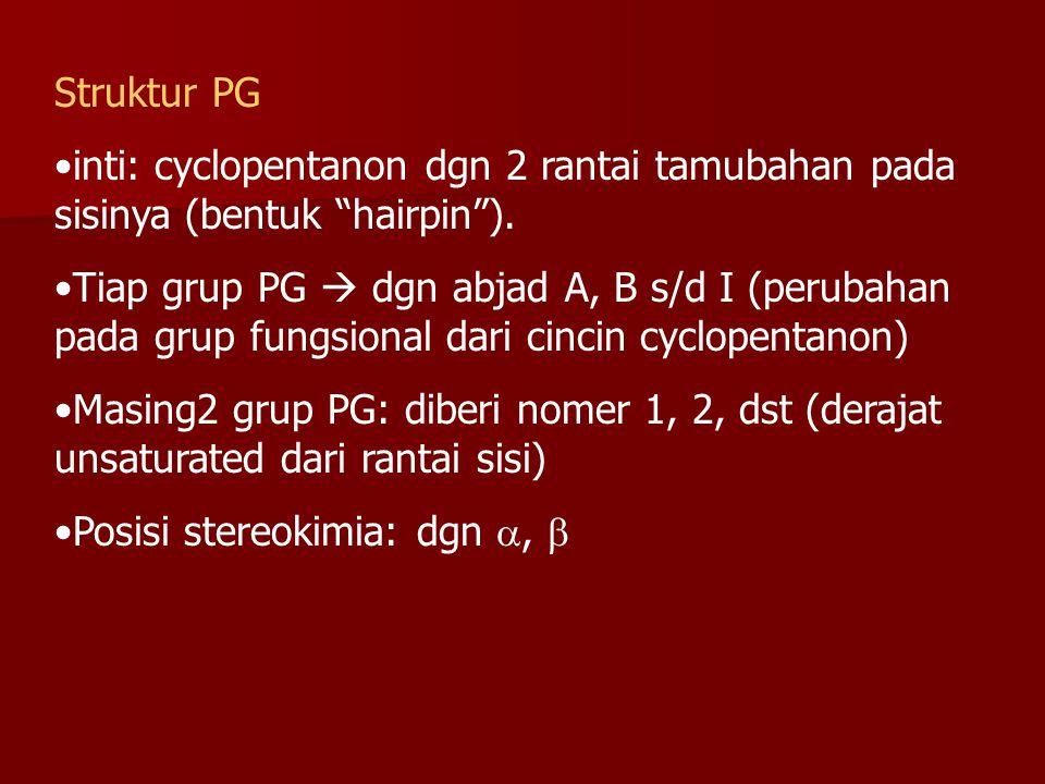 "Struktur PG inti: cyclopentanon dgn 2 rantai tamubahan pada sisinya (bentuk ""hairpin""). Tiap grup PG  dgn abjad A, B s/d I (perubahan pada grup fungs"