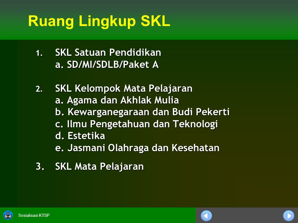 Sosialisasi KTSP SKL SD/MI/SDLB/Paket A 1.1.