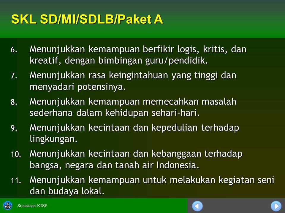 Sosialisasi KTSP SKL SD/MI/SDLB/Paket A 12.