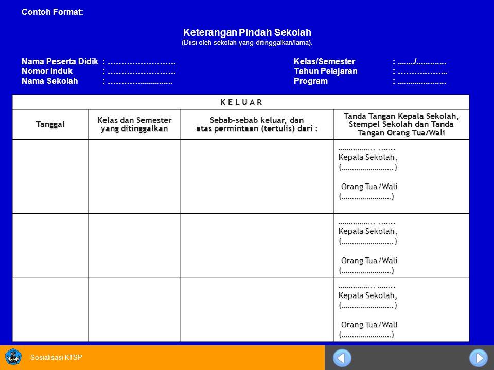 Sosialisasi KTSP Contoh Format: Keterangan Pindah Sekolah (Diisi oleh sekolah yang ditinggalkan/lama). Nama Peserta Didik: …………………….Kelas/Semester:...