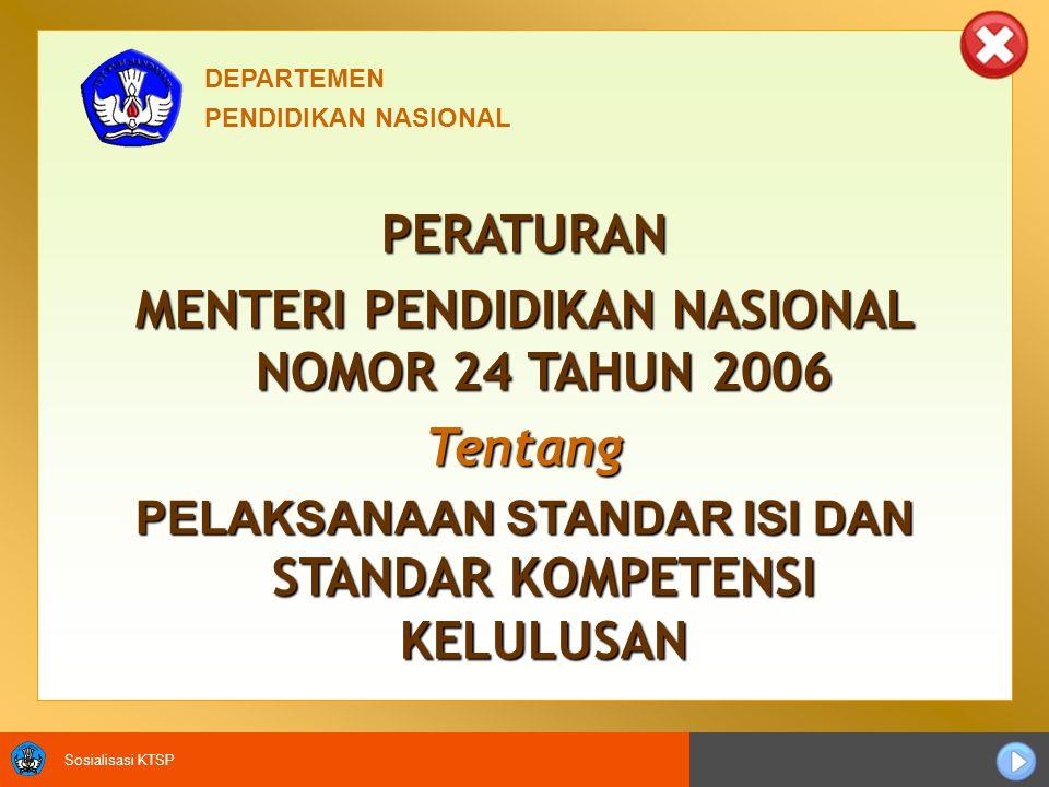 Sosialisasi KTSP PERATURAN MENTERI PENDIDIKAN NASIONAL NOMOR 24 TAHUN 2006 Tentang PELAKSANAAN STANDAR ISI DAN STANDAR KOMPETENSI KELULUSAN DEPARTEMEN PENDIDIKAN NASIONAL