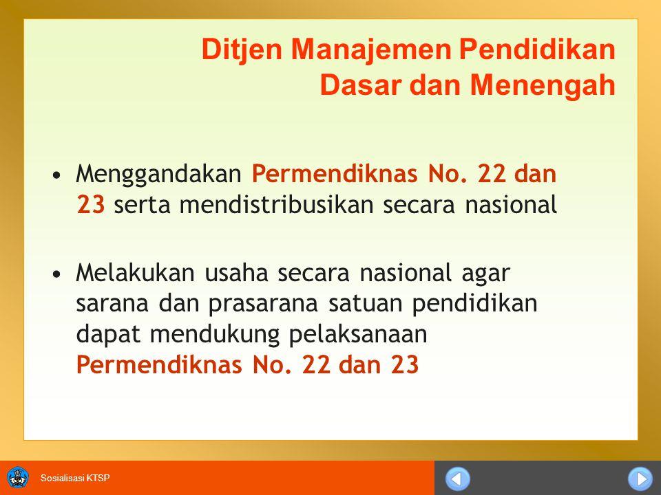 Sosialisasi KTSP Ditjen Manajemen Pendidikan Dasar dan Menengah Menggandakan Permendiknas No.