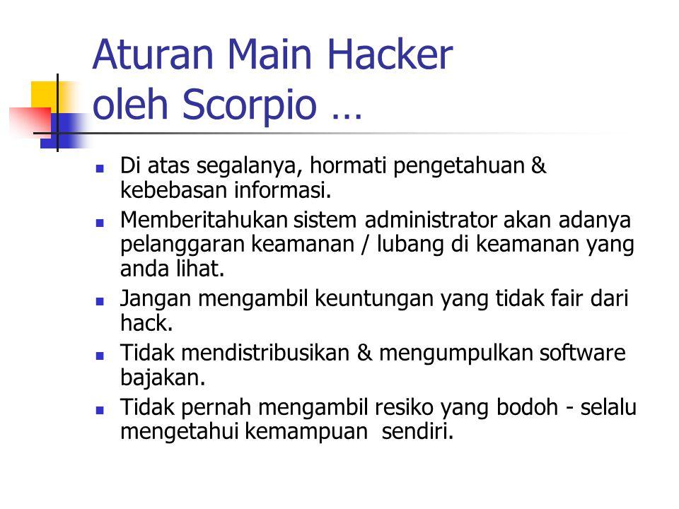 Aturan Main Hacker oleh Scorpio … Di atas segalanya, hormati pengetahuan & kebebasan informasi.