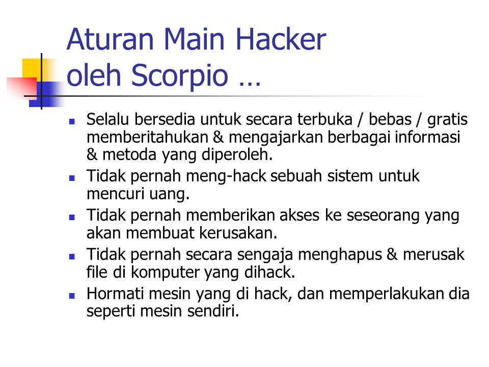 Aturan Main Hacker oleh Scorpio … Selalu bersedia untuk secara terbuka / bebas / gratis memberitahukan & mengajarkan berbagai informasi & metoda yang diperoleh.