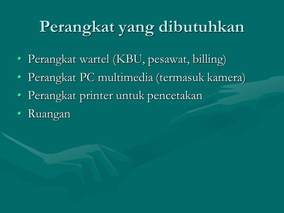 Perangkat yang dibutuhkan Perangkat wartel (KBU, pesawat, billing)Perangkat wartel (KBU, pesawat, billing) Perangkat PC multimedia (termasuk kamera)Perangkat PC multimedia (termasuk kamera) Perangkat printer untuk pencetakanPerangkat printer untuk pencetakan RuanganRuangan