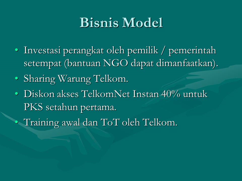 Bisnis Model Investasi perangkat oleh pemilik / pemerintah setempat (bantuan NGO dapat dimanfaatkan).Investasi perangkat oleh pemilik / pemerintah setempat (bantuan NGO dapat dimanfaatkan).