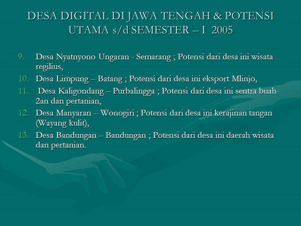 DESA DIGITAL DI JAWA TENGAH & POTENSI UTAMA s/d SEMESTER – I 2005 9.Desa Nyatnyono Ungaran - Semarang ; Potensi dari desa ini wisata regilius, 10.Desa Limpung – Batang ; Potensi dari desa ini eksport Mlinjo, 11.