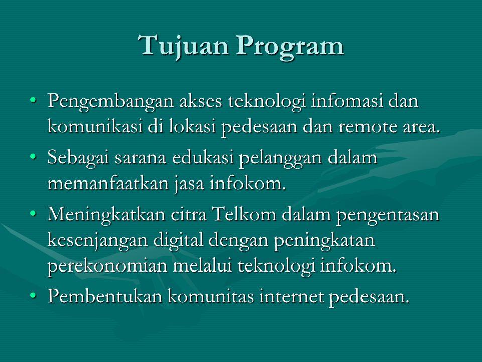 Tujuan Program Pengembangan akses teknologi infomasi dan komunikasi di lokasi pedesaan dan remote area.Pengembangan akses teknologi infomasi dan komunikasi di lokasi pedesaan dan remote area.