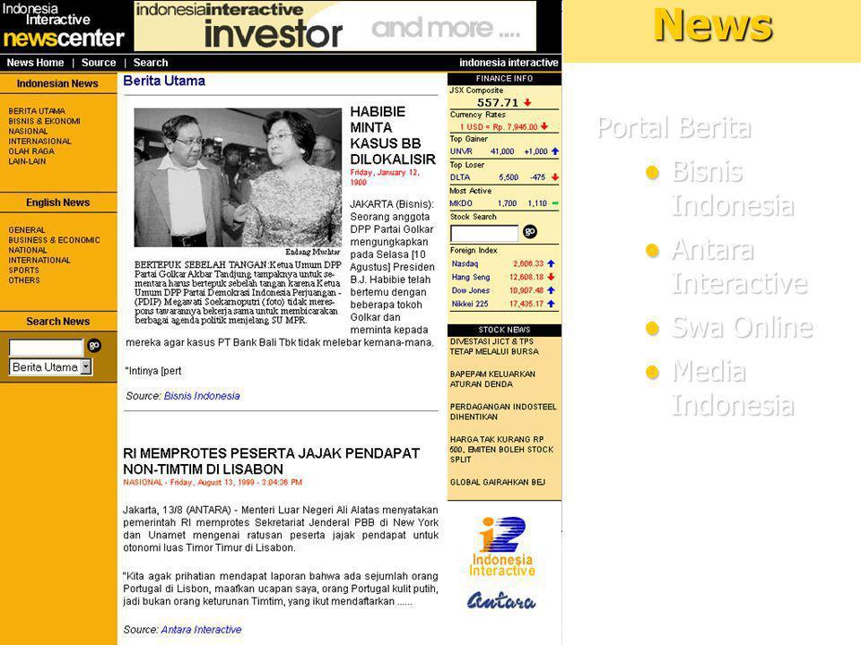 11News Portal Berita Bisnis Indonesia Bisnis Indonesia Antara Interactive Antara Interactive Swa Online Swa Online Media Indonesia Media Indonesia