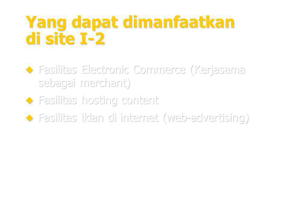 20 Yang dapat dimanfaatkan di site I-2  Fasilitas Electronic Commerce (Kerjasama sebagai merchant)  Fasilitas hosting content  Fasilitas iklan di internet (web-advertising)