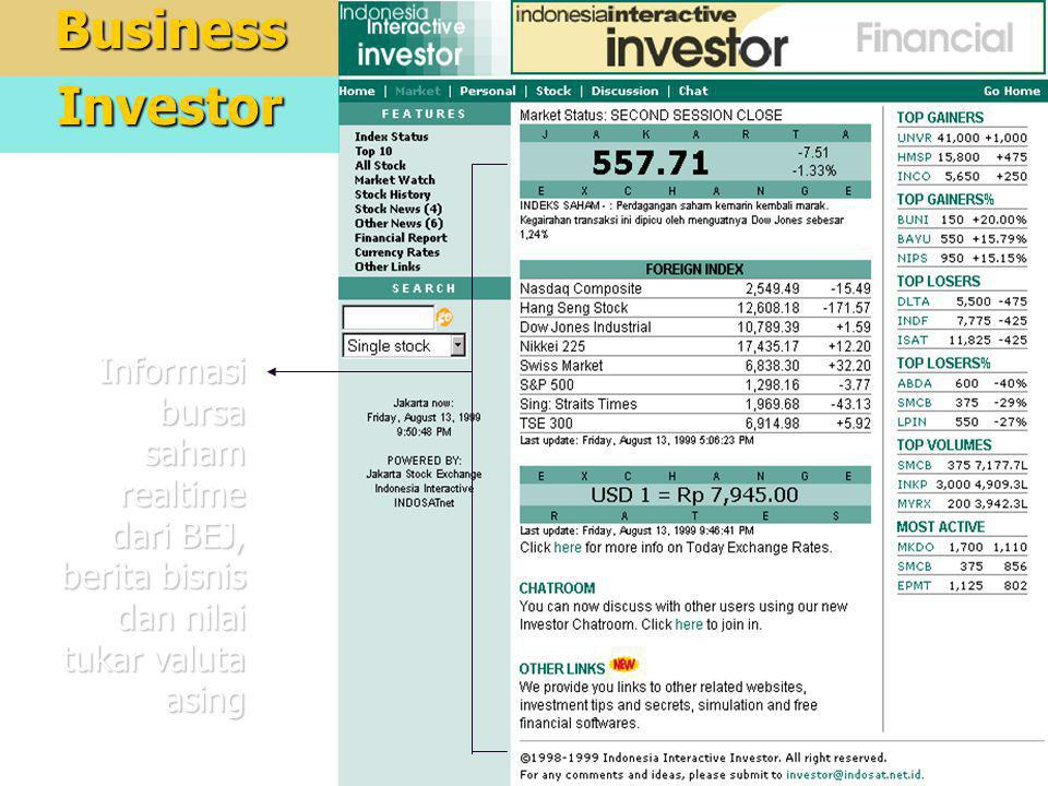 5BusinessInvestor Informasi bursa saham realtime dari BEJ, berita bisnis dan nilai tukar valuta asing