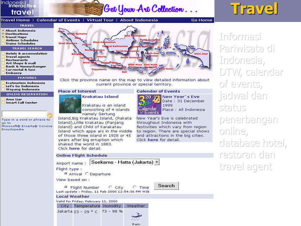7Travel Informasi Pariwisata di Indonesia, DTW, calendar of events, jadwal dan status penerbangan online, database hotel, restoran dan travel agent