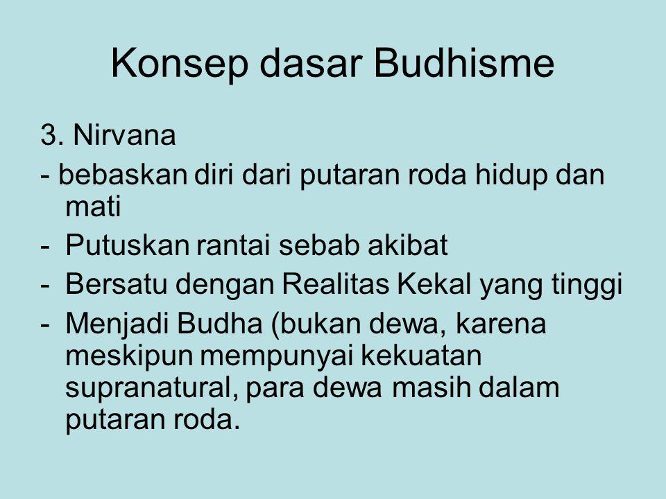 Konsep dasar Budhisme 3. Nirvana - bebaskan diri dari putaran roda hidup dan mati -Putuskan rantai sebab akibat -Bersatu dengan Realitas Kekal yang ti