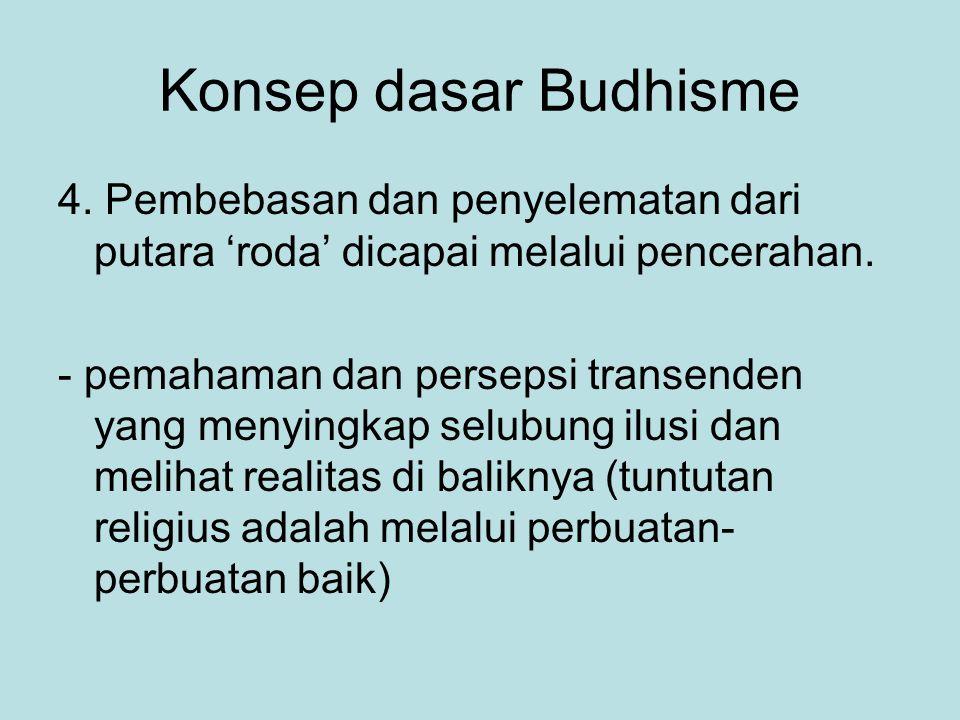Konsep dasar Budhisme 4. Pembebasan dan penyelematan dari putara 'roda' dicapai melalui pencerahan. - pemahaman dan persepsi transenden yang menyingka