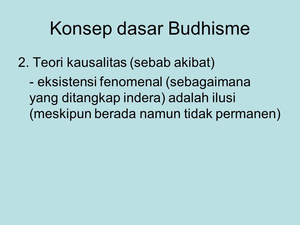 Konsep dasar Budhisme 2. Teori kausalitas (sebab akibat) - eksistensi fenomenal (sebagaimana yang ditangkap indera) adalah ilusi (meskipun berada namu