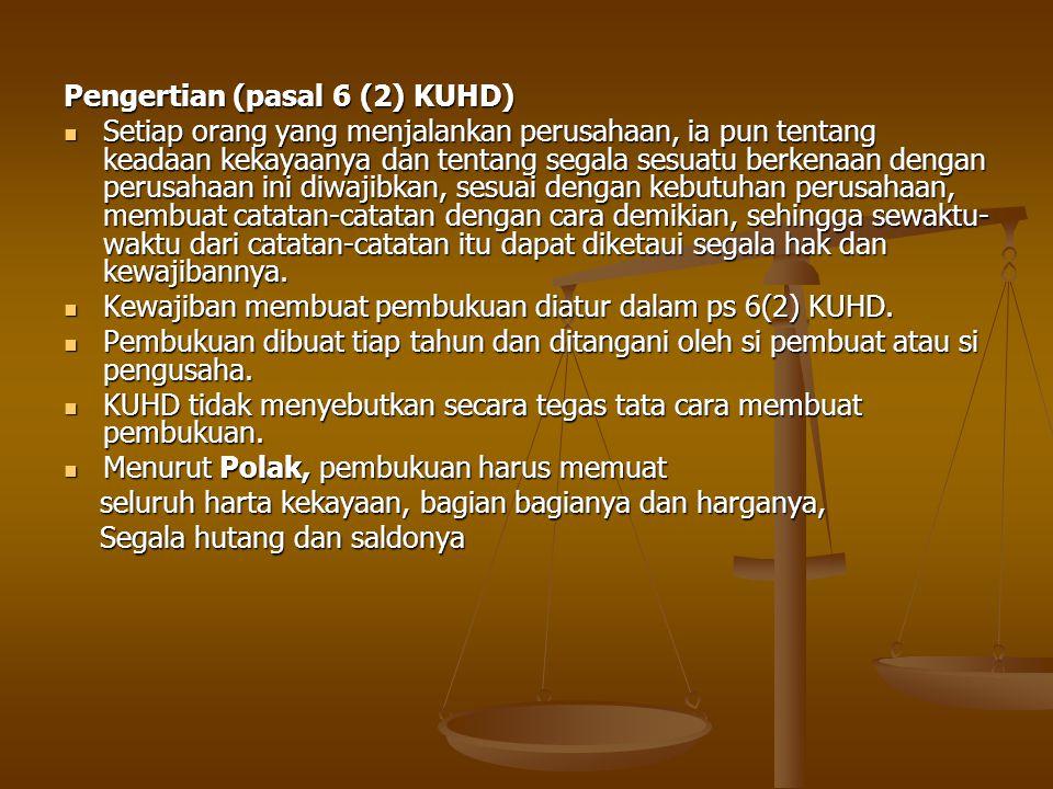 Menurut Ps 6 (3) KUHD segala catatan dan neraca pembukuan harus disimpan selama 30 tahun setelah itu baru boleh dihapuskan.