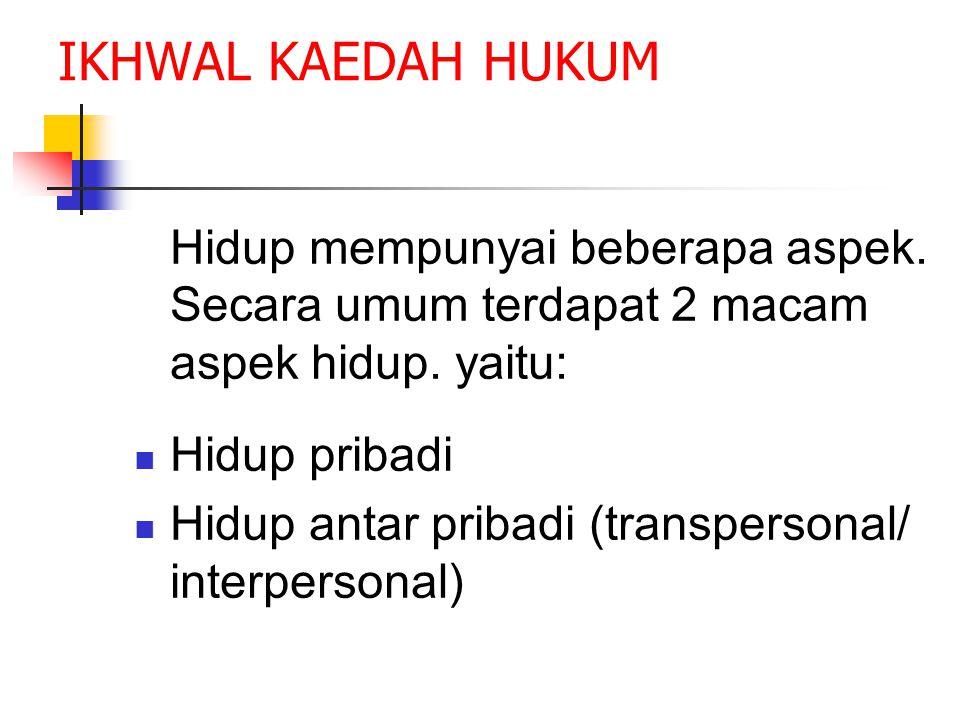IKHWAL KAEDAH HUKUM Hidup mempunyai beberapa aspek.