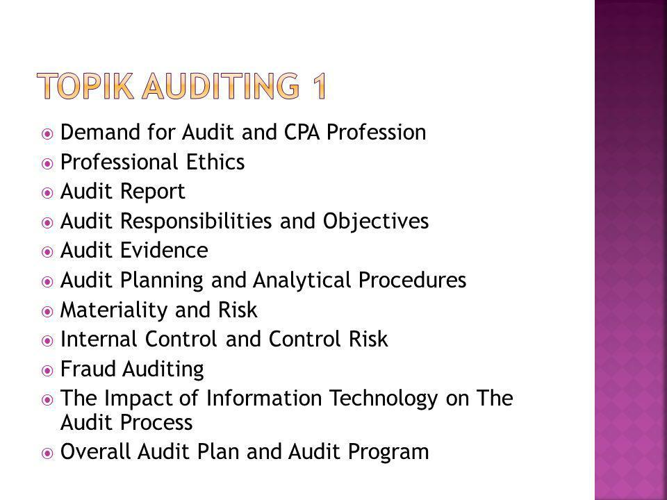  Demand for Audit and CPA Profession  Professional Ethics  Audit Report  Audit Responsibilities and Objectives  Audit Evidence  Audit Planning a