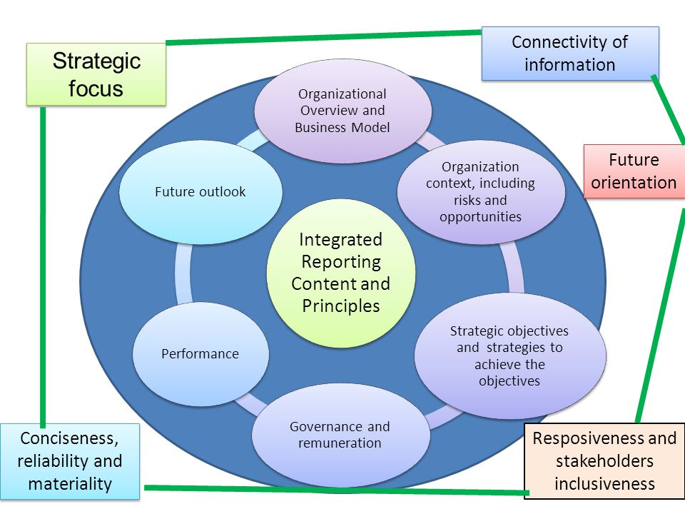 Strategic focus Connectivity of information Future orientation Resposiveness and stakeholders inclusiveness Integrated Reporting Content and Principle