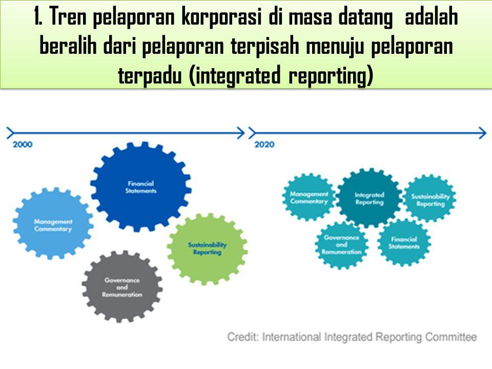 1. Tren pelaporan korporasi di masa datang adalah beralih dari pelaporan terpisah menuju pelaporan terpadu (integrated reporting)