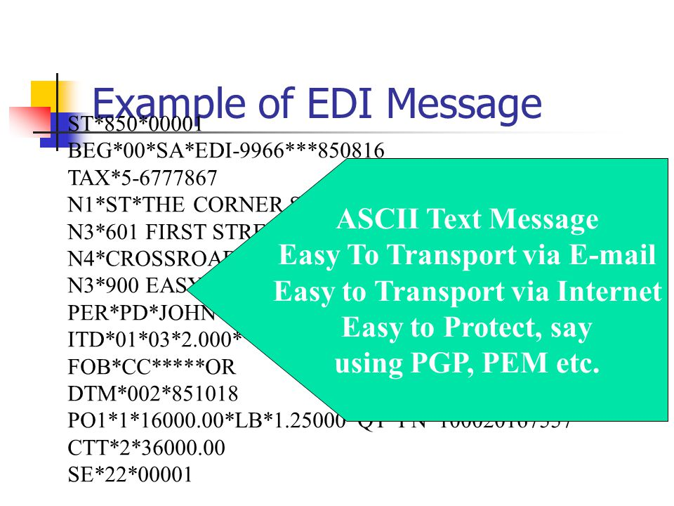 Example of EDI Message ST*850*00001 BEG*00*SA*EDI-9966***850816 TAX*5-6777867 N1*ST*THE CORNER STORE*09*0799332120001 N3*601 FIRST STREET N4*CROSSROADS*NY*10016 N3*900 EASY STREET PER*PD*JOHN JONES**TE*415-744-8666 ITD*01*03*2.000***10**30 FOB*CC*****OR DTM*002*851018 PO1*1*16000.00*LB*1.25000*QT*PN*100020167557 CTT*2*36000.00 SE*22*00001