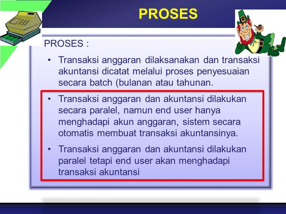 PROSES PROSES : Transaksi anggaran dilaksanakan dan transaksi akuntansi dicatat melalui proses penyesuaian secara batch (bulanan atau tahunan. Transak