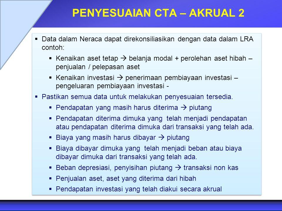 PENYESUAIAN CTA – AKRUAL 2  Data dalam Neraca dapat direkonsiliasikan dengan data dalam LRA contoh:  Kenaikan aset tetap  belanja modal + perolehan