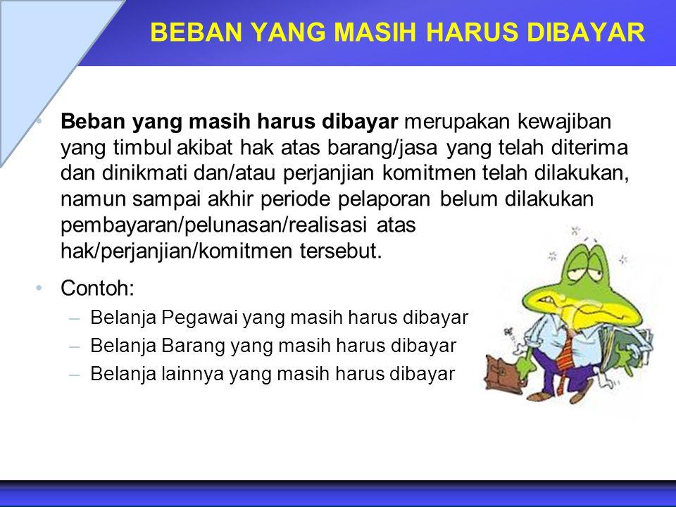 BEBAN YANG MASIH HARUS DIBAYAR Beban yang masih harus dibayar merupakan kewajiban yang timbul akibat hak atas barang/jasa yang telah diterima dan dini