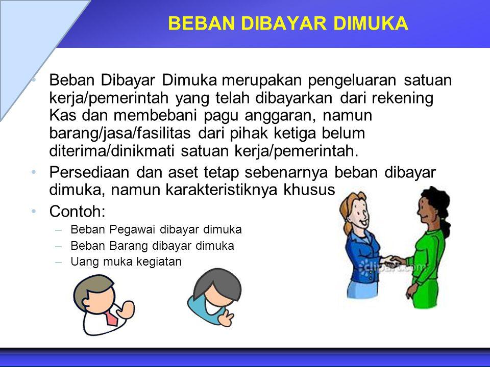 BEBAN DIBAYAR DIMUKA Beban Dibayar Dimuka merupakan pengeluaran satuan kerja/pemerintah yang telah dibayarkan dari rekening Kas dan membebani pagu ang