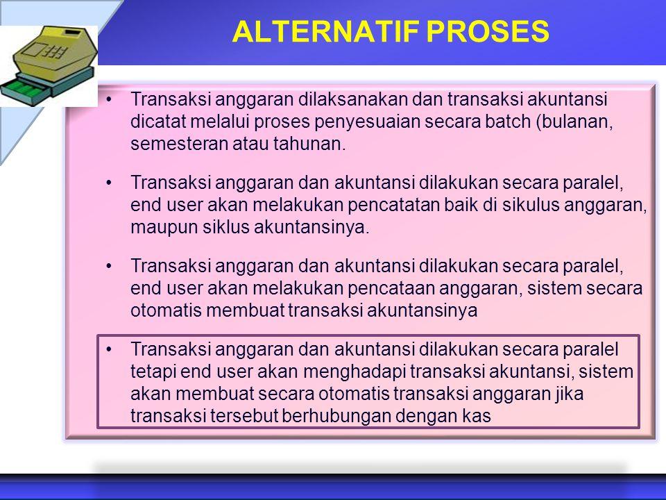 ALTERNATIF PROSES Transaksi anggaran dilaksanakan dan transaksi akuntansi dicatat melalui proses penyesuaian secara batch (bulanan, semesteran atau ta