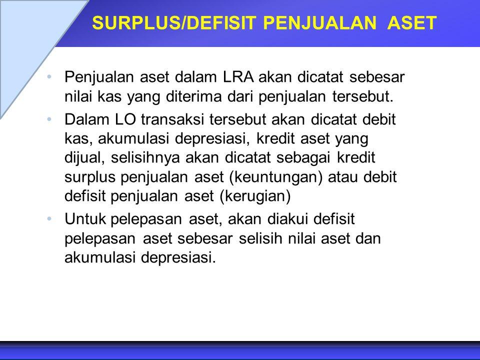 SURPLUS/DEFISIT PENJUALAN ASET Penjualan aset dalam LRA akan dicatat sebesar nilai kas yang diterima dari penjualan tersebut. Dalam LO transaksi terse