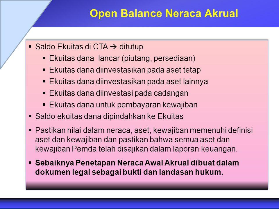 Open Balance Neraca Akrual  Saldo Ekuitas di CTA  ditutup  Ekuitas dana lancar (piutang, persediaan)  Ekuitas dana diinvestasikan pada aset tetap