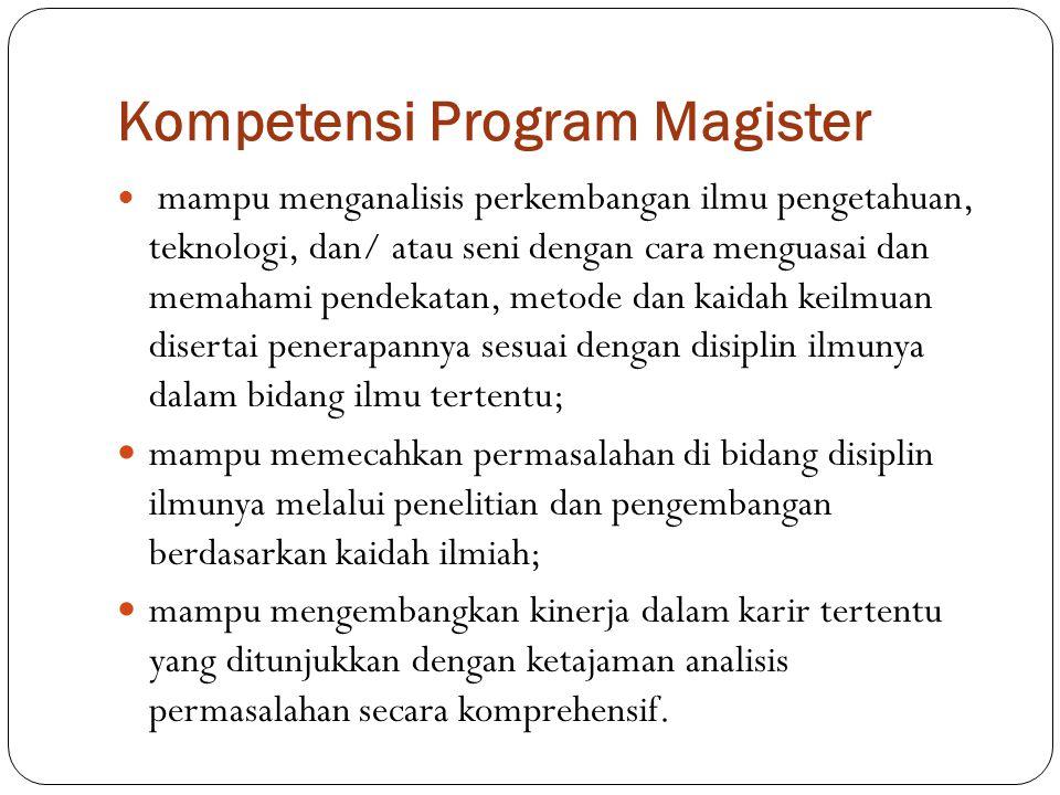 Kompetensi Program Magister mampu menganalisis perkembangan ilmu pengetahuan, teknologi, dan/ atau seni dengan cara menguasai dan memahami pendekatan,