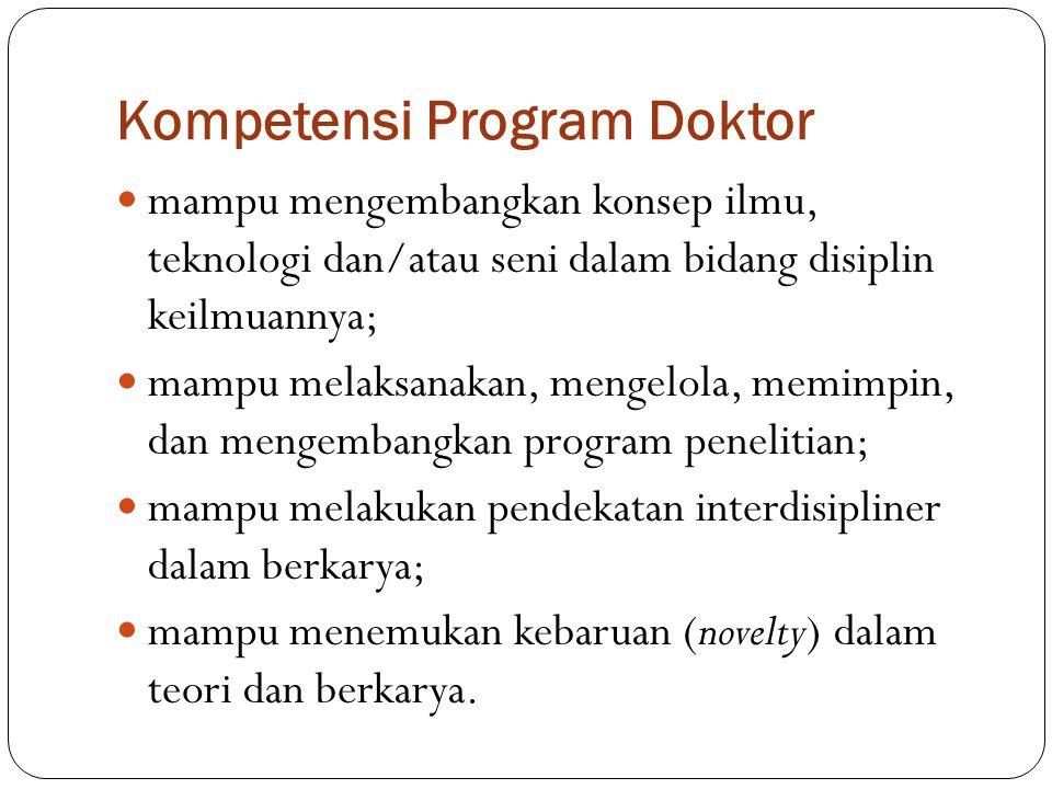 Kompetensi Program Doktor mampu mengembangkan konsep ilmu, teknologi dan/atau seni dalam bidang disiplin keilmuannya; mampu melaksanakan, mengelola, m