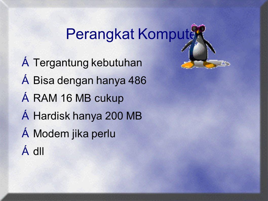 Perangkat Komputer  Tergantung kebutuhan  Bisa dengan hanya 486  RAM 16 MB cukup  Hardisk hanya 200 MB  Modem jika perlu  dll