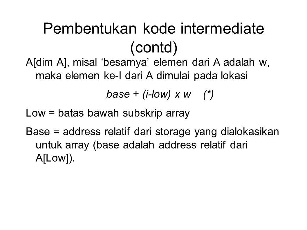 Pembentukan kode intermediate (contd) A[dim A], misal 'besarnya' elemen dari A adalah w, maka elemen ke-I dari A dimulai pada lokasi base + (i-low) x