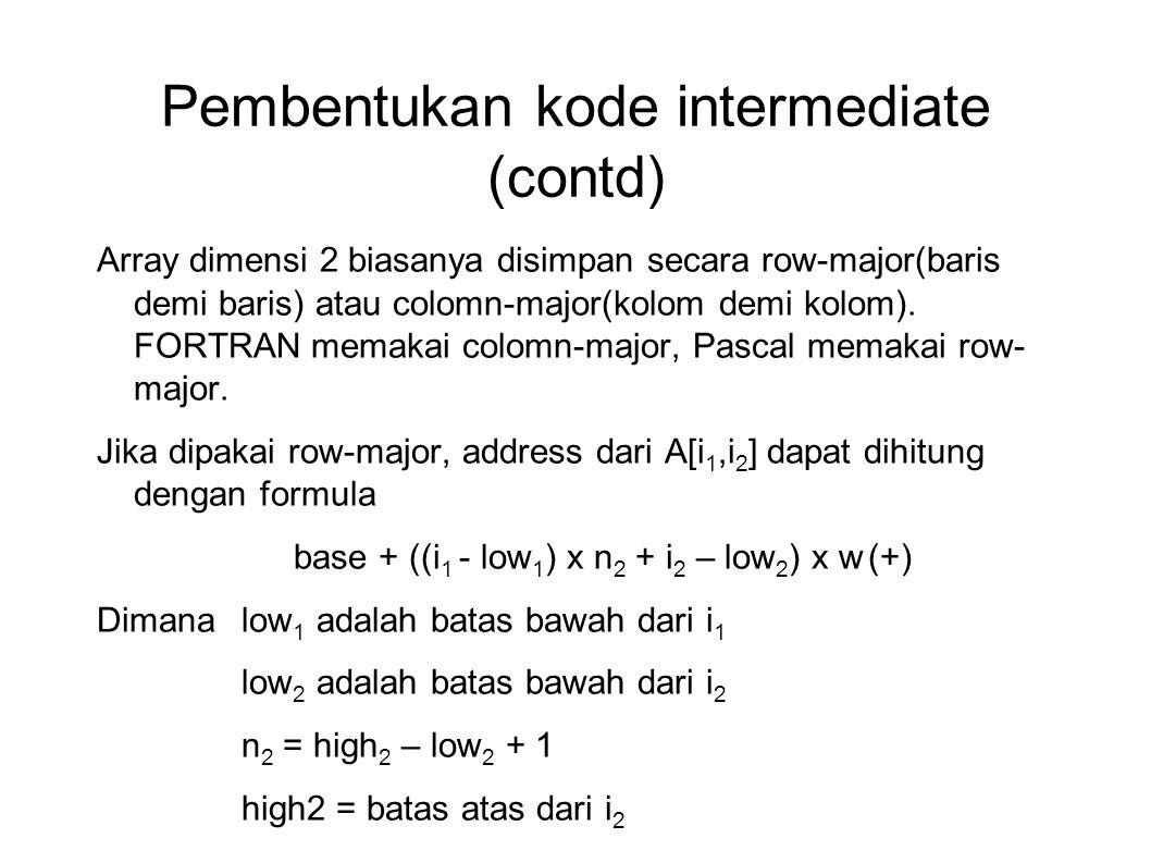 Pembentukan kode intermediate (contd) (+) Bisa ditulis sebagai (( i 1 x n 2 ) x w + (base-((low 1 x n 2 ) +low 2 ) x w) dapat dihitung pada waktu kompilasi Secara umum, untuk dimensi k, A[i 1,i 2,i 3,…,i k ] dapat ditentukan address relatifnya sbb : ((…(i 1 n 1 + i 2 )n 3 + i 3 )…)n k + i k ) x w + base(…((low 1 n 2 + low 2 )n 3 + low 3 )…)n k + low k ) x w Dimana n j = high j – low j + 1,  j