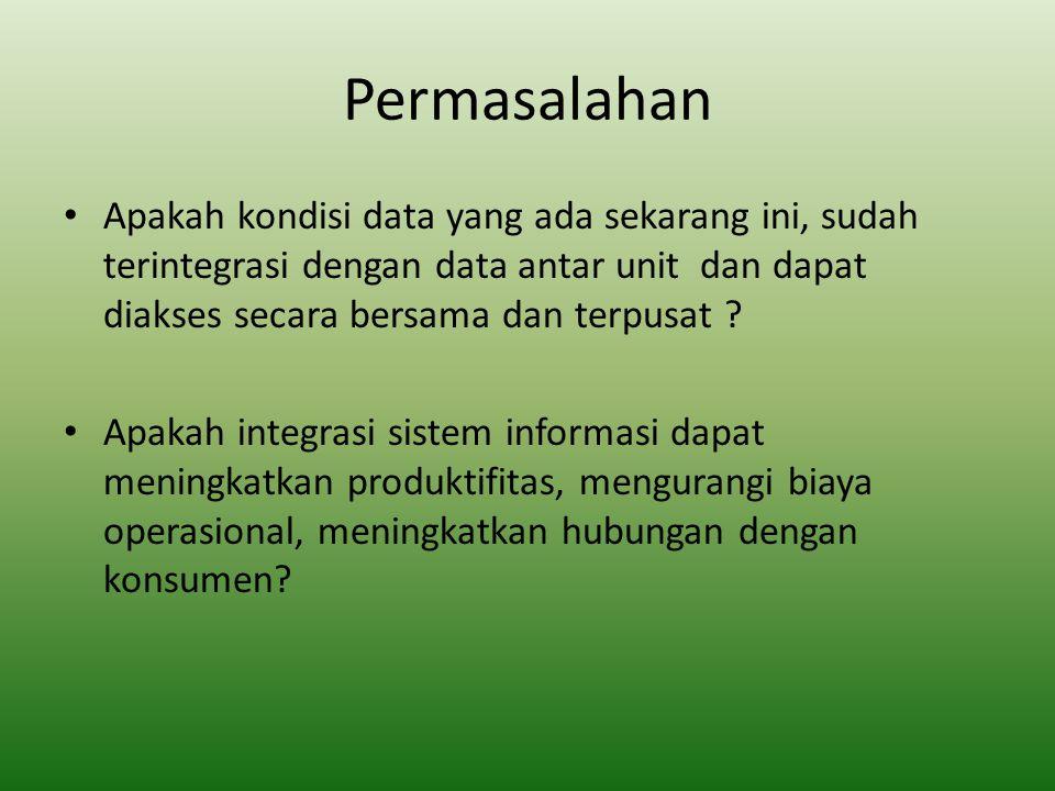 Permasalahan Apakah kondisi data yang ada sekarang ini, sudah terintegrasi dengan data antar unit dan dapat diakses secara bersama dan terpusat .