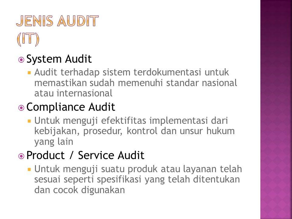  System Audit  Audit terhadap sistem terdokumentasi untuk memastikan sudah memenuhi standar nasional atau internasional  Compliance Audit  Untuk m
