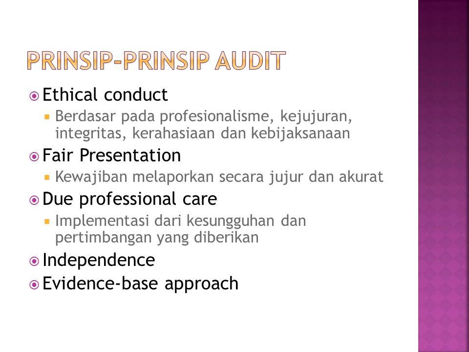  Ethical conduct  Berdasar pada profesionalisme, kejujuran, integritas, kerahasiaan dan kebijaksanaan  Fair Presentation  Kewajiban melaporkan sec