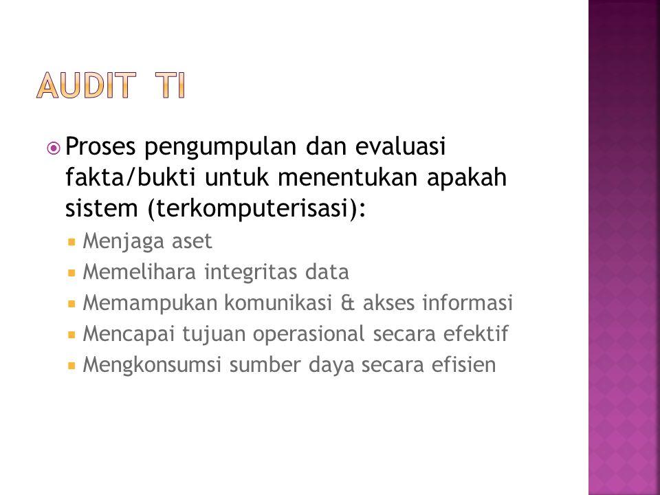  Proses pengumpulan dan evaluasi fakta/bukti untuk menentukan apakah sistem (terkomputerisasi):  Menjaga aset  Memelihara integritas data  Memampu