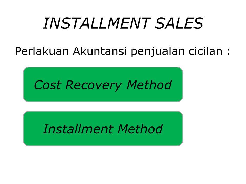 INSTALLMENT SALES Perlakuan Akuntansi penjualan cicilan : Cost Recovery Method Installment Method