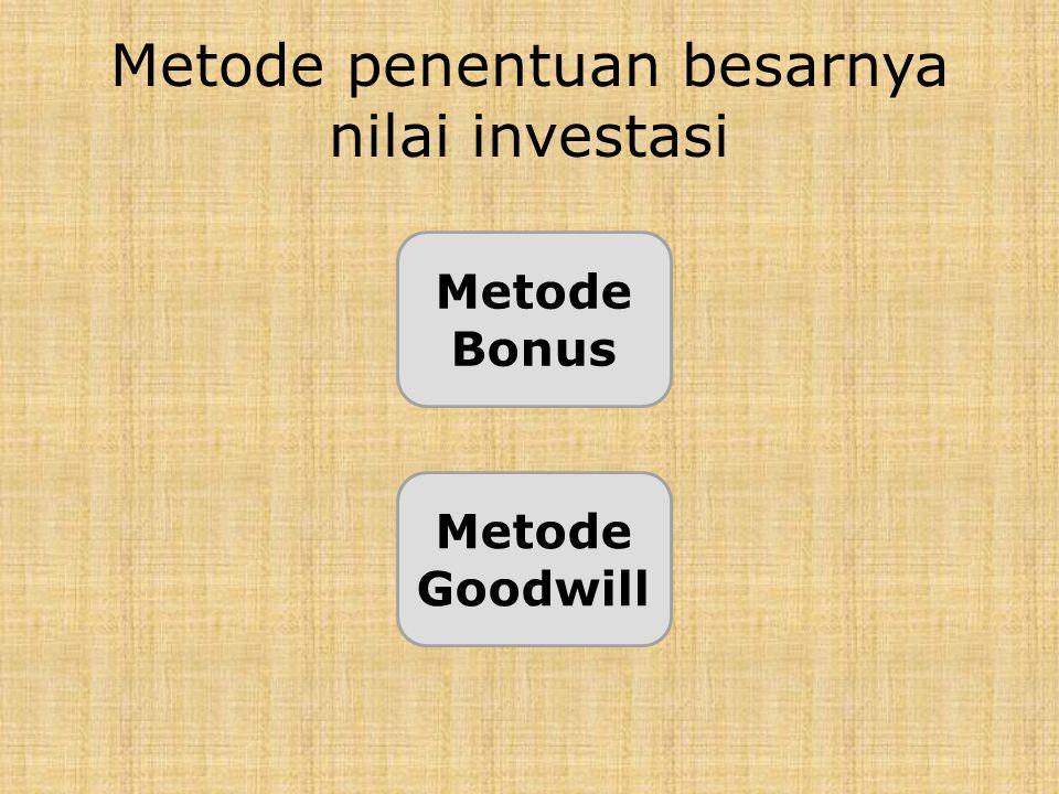Metode penentuan besarnya nilai investasi Metode Bonus Metode Goodwill