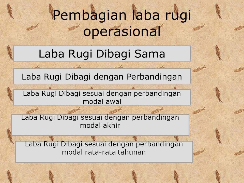 Pembagian laba rugi operasional Laba Rugi Dibagi Sama Laba Rugi Dibagi dengan Perbandingan Laba Rugi Dibagi sesuai dengan perbandingan modal awal Laba Rugi Dibagi sesuai dengan perbandingan modal akhir Laba Rugi Dibagi sesuai dengan perbandingan modal rata-rata tahunan
