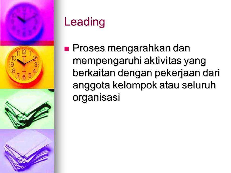 Leading Proses mengarahkan dan mempengaruhi aktivitas yang berkaitan dengan pekerjaan dari anggota kelompok atau seluruh organisasi Proses mengarahkan dan mempengaruhi aktivitas yang berkaitan dengan pekerjaan dari anggota kelompok atau seluruh organisasi