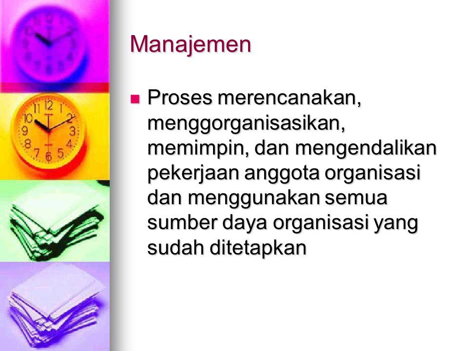 Manajemen Proses merencanakan, menggorganisasikan, memimpin, dan mengendalikan pekerjaan anggota organisasi dan menggunakan semua sumber daya organisasi yang sudah ditetapkan Proses merencanakan, menggorganisasikan, memimpin, dan mengendalikan pekerjaan anggota organisasi dan menggunakan semua sumber daya organisasi yang sudah ditetapkan