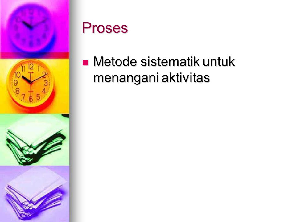 Proses Metode sistematik untuk menangani aktivitas Metode sistematik untuk menangani aktivitas