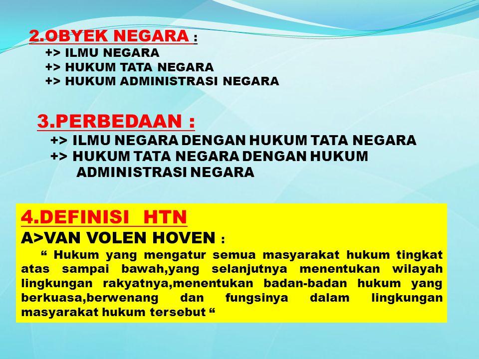 2.OBYEK NEGARA : +> ILMU NEGARA +> HUKUM TATA NEGARA +> HUKUM ADMINISTRASI NEGARA 3.PERBEDAAN : +> ILMU NEGARA DENGAN HUKUM TATA NEGARA +> HUKUM TATA