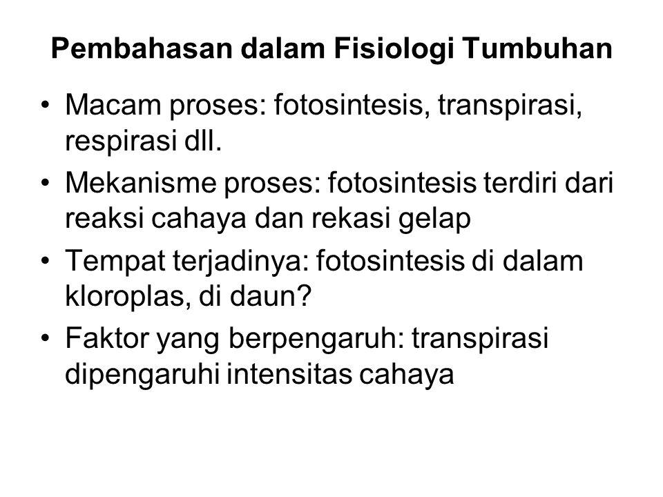 Pembahasan dalam Fisiologi Tumbuhan Macam proses: fotosintesis, transpirasi, respirasi dll. Mekanisme proses: fotosintesis terdiri dari reaksi cahaya